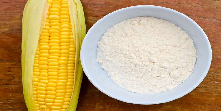 Corn and starch on wood table