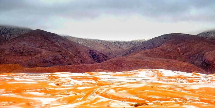 Snowing in the Sahara Desert