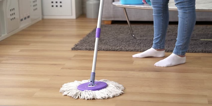 Always follow the dusting, brooming and mopping routine
