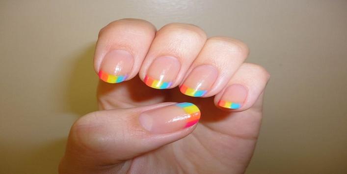 Rainbow tip nail art