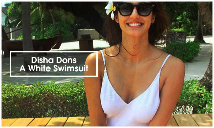 Disha Dons A White Swimsuit