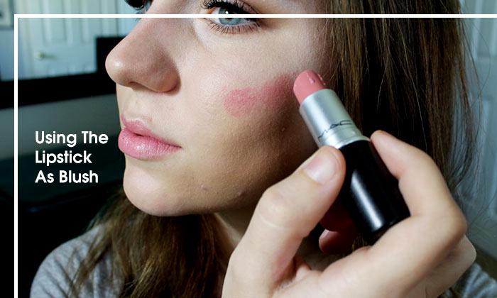 Using The Lipstick As Blush