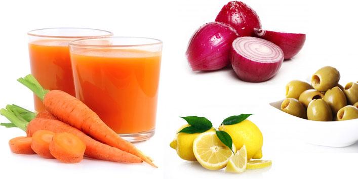 Carrot-juice-onion-juice-olive-oil-and-lemon-juice-hair-mask