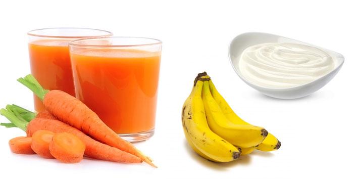 Carrot-juice-yogurt-bananahair-mask